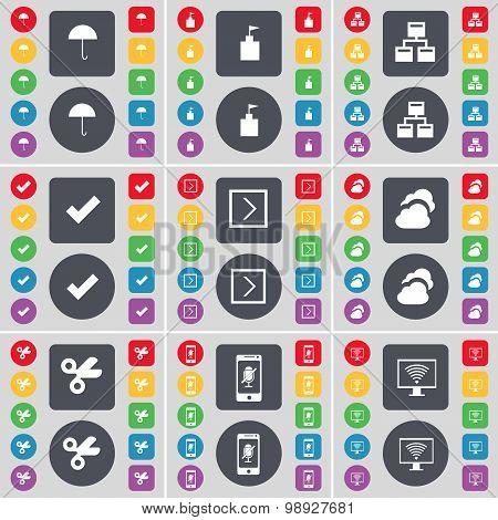 Umbrella, Flag Tower, Network, Tick, Arrow Right, Cloud, Scissors, Smartphone, Monitor Icon Symbol.