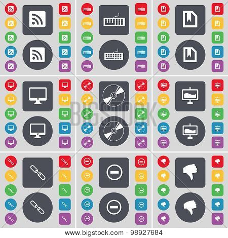 Rss, Keyboard, File, Monitor, Disk, Graph, Link, Minus, Dislike Icon Symbol. A Large Set Of Flat, Co