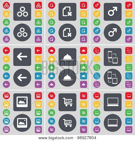 Gear, File, Mars Symbol, Arrow Left, Tray, Connection, Window, Shopping Cart, Laptop Icon Symbol. A