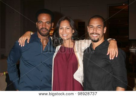 LOS ANGELES - AUG 15:  Kristoff St. John, Nadine Nicole, Bryton James at the