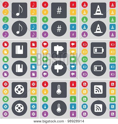 Note, Hashtag, Cone, Dictionary, Signpost, Battery, Videotape, T Icon Symbol. A Large Set Of Flat, C
