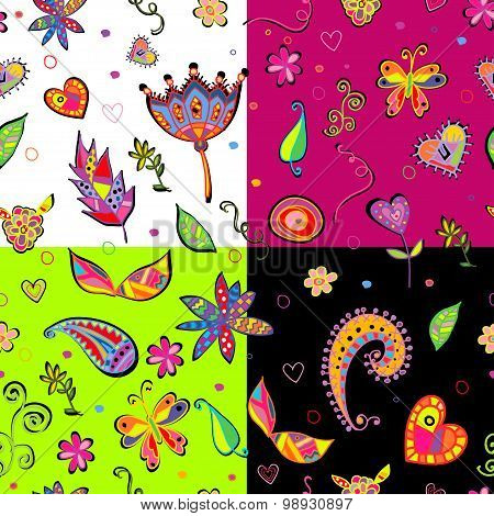 seamless set multicolored flower pattern.
