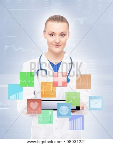 Beautiful doctor being modern with tablet and plenty widgets.