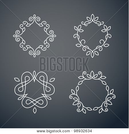 Set of outline monogram 02