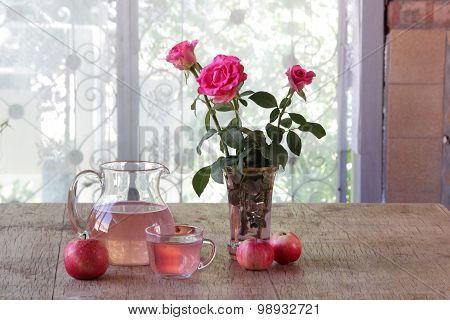 Still-life With Apples, A Bouquet From Roses And Apple Compote