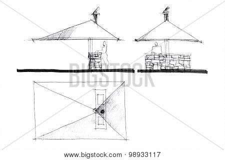 Modern Residential Lounge Barbeque Place Freehand From Different Angles