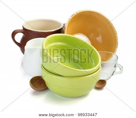 set of tableware isolated on white background