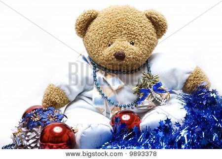 Soft Bear With Christmas Decorations