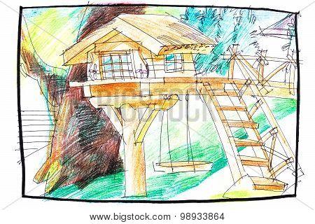 Tree House Hand Drawn Image