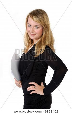 Young Musician Lady With Music Scores On White Background