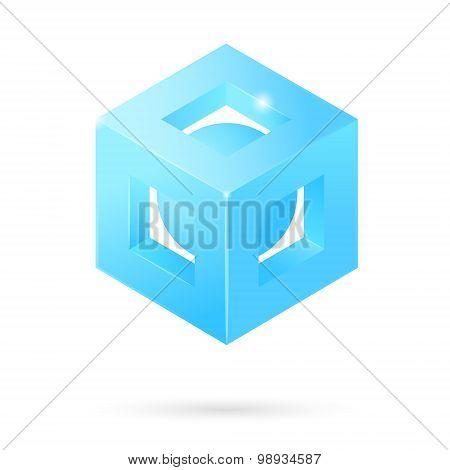 Isometric Perforated Cube Logo