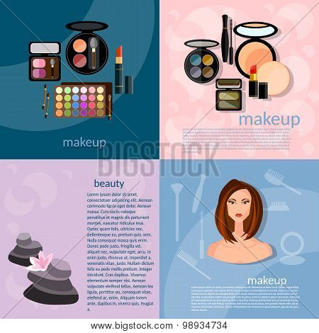 Makeup Artist Fashion Concept Makeup Professional Make-up Details Cosmetology Beautiful Woman vector
