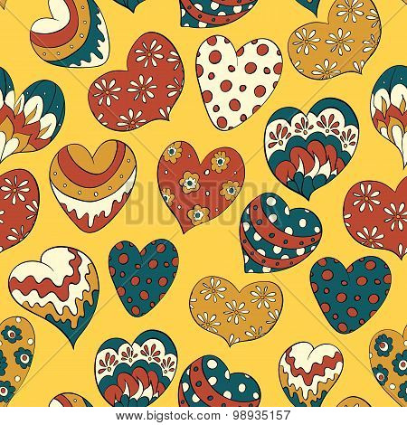 seamless pattern with colorful hearts. valentines vector background