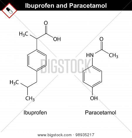 Ibuprofen And Paracetamol Molecules
