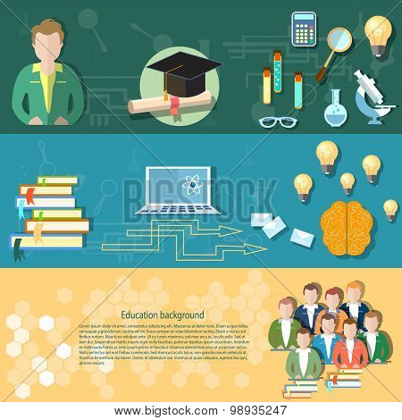 Science And Education Students Exams Teacher Online Training Technology Education vector banners