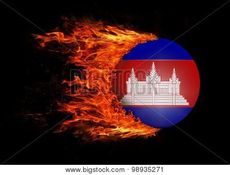 Flag With A Trail Of Fire - Cambodia