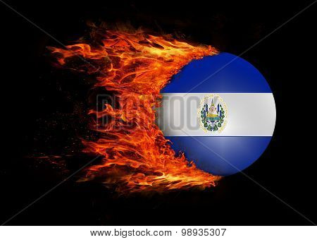 Flag With A Trail Of Fire - El Salvador