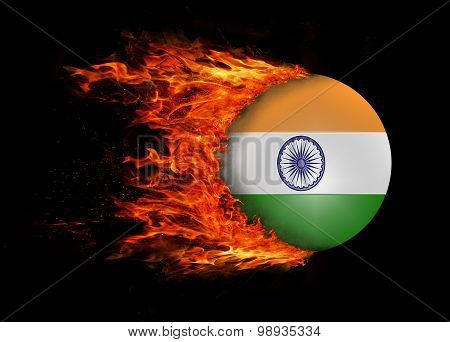 Flag With A Trail Of Fire - India