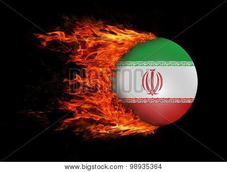Flag With A Trail Of Fire - Iran