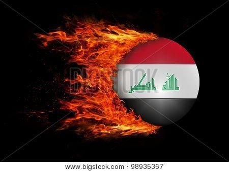 Flag With A Trail Of Fire - Iraq