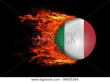Flag With A Trail Of Fire - Italy
