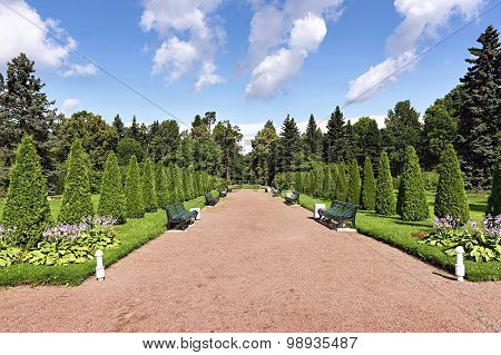 Park Walkway With Benches For Rest And Flower Beds On Either Sid