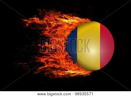 Flag With A Trail Of Fire - Romania