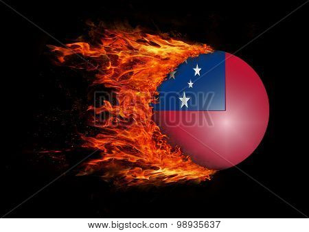 Flag With A Trail Of Fire - Samoa