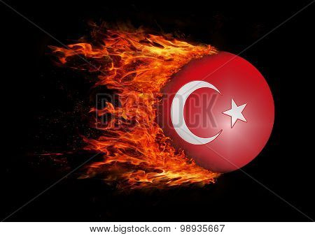 Flag With A Trail Of Fire - Turkey