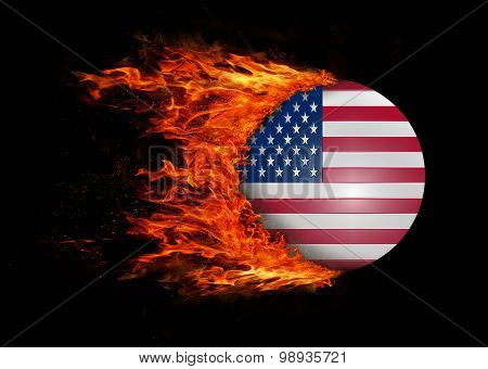 Flag With A Trail Of Fire - United States