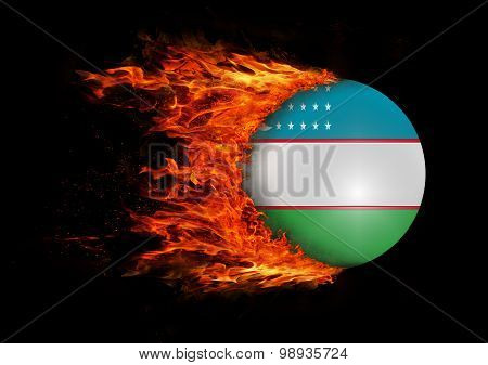 Flag With A Trail Of Fire - Uzbekistan