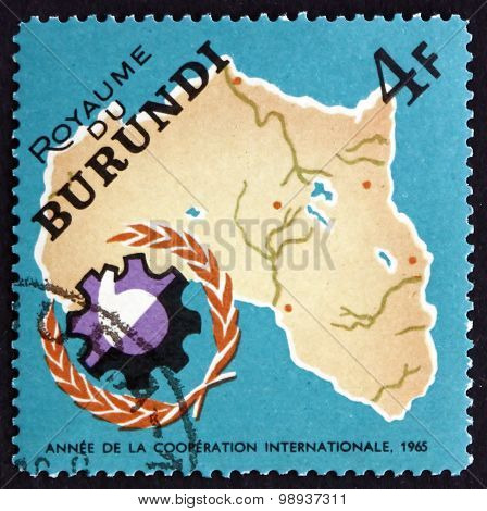 Postage Stamp Burundi 1965 Map Of Africa