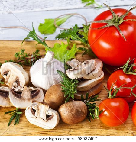 Healthy Bio Vegetables on a Wooden Background