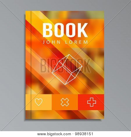Modern Book, Brochure Cover With Blurred Background, Line Icons