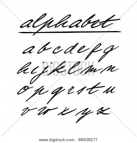 Hand Drawn Vector Alphabet, Font, Isolated Lower Case Letters