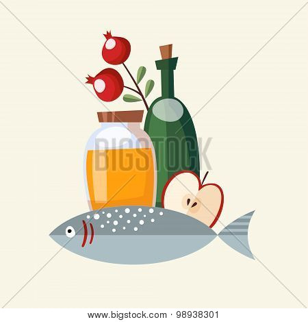 Rosh Hashana Greeting Card, Invitation With Honey, Fish And Fruit, Vector