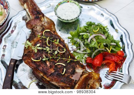 Delicious Grilled shoulder of lamb