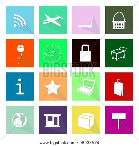 Collection Of 16 Online Shopping Item Icons Banner