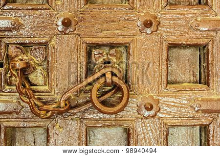 Traditional Indian door knocker Golden Fort of Jaisalmer Rajasthan India with copy space