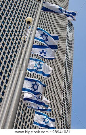 Israeli flags in Tel-Aviv