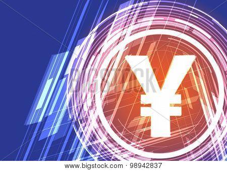 Vector Background Shining Symbol Yen (or Yuan)