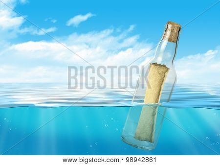 Bottle With Message Float At Ocean