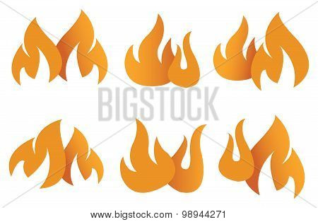 Orange Flame Symbols Vector Illustration