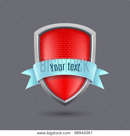 Red Glossy Metal Shield On Gray Background