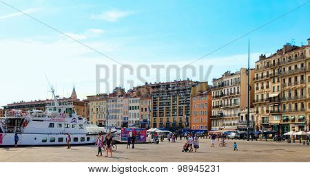 Marseille - July 2, 2014: Old Port (vieux-port) With People Walking Along The Promenade