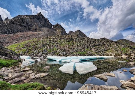 Melting Ice Floes On A Small Mountain Lake