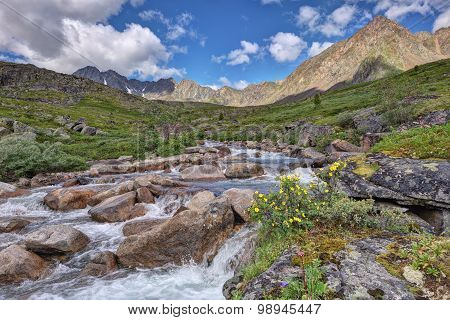 A Small River In The Mountain Tundra