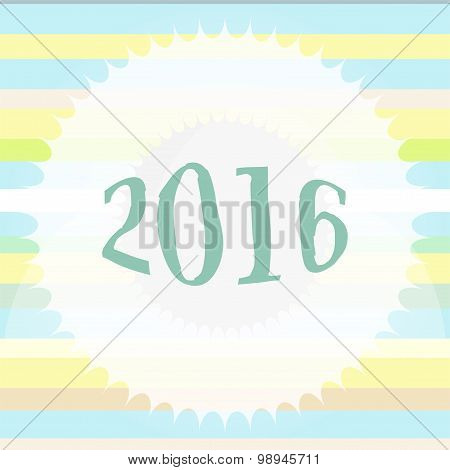 Happy New Year 2016 Colorful Greeting Card. Holiday Design. Party Poster, Greeting Card, Banner Or I