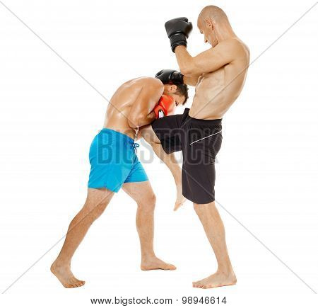 Kickboxers Sparring On White