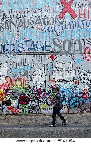 Brussels, Belgium - May 12, 2015: The Graffiti On The House Wall In Brussels